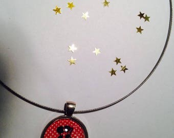 """Necklace Cable Choker """"Shadow love background red"""" 25 mm pendant"""