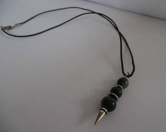 Minimalist man necklace, pendant and black leather cord arrow dressed with agates.