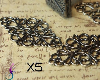 5 connectors 41x25mm medieval style antique silver metal