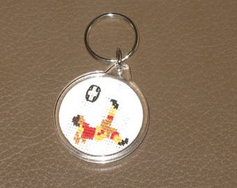 Keychain red and yellow football embroidered