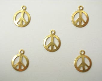 LOT 5 METALS CHARMS Gold: peace sign 16mm