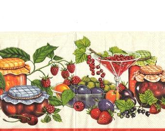 Towel fruit and jam jars