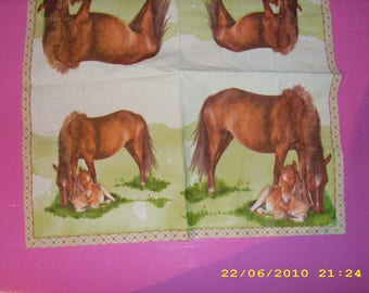 Horse and foal napkin