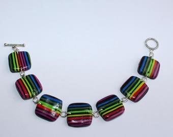 Bracelet 7 square medallions multi-color stripes