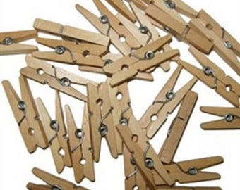 SET of 50 MINI clips A wooden CLOTHESPIN - 35 mm wood natural new