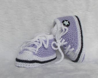 basketball shoes 0/3 months white purple baby booties handknit baby wool