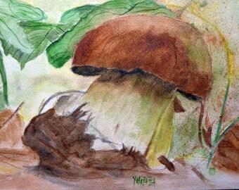 the beautiful autumn Brown bolete mushroom watercolor