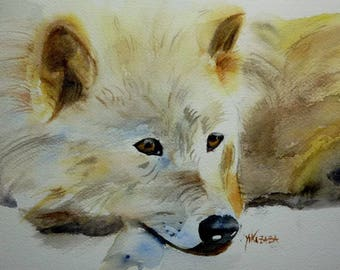 watercolor White Wolf