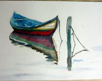 watercolor a beautiful bark colored Portugal
