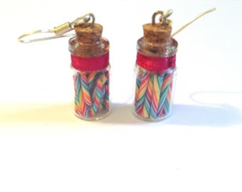 Earrings - polymer clay candy cane - Pink Ribbon - silver glass vial.