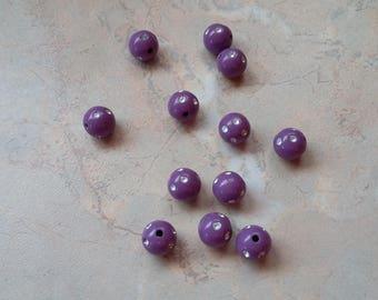 Beads 10mm purple acrylic colored rhinestones