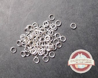 100 7mm silver round jump rings