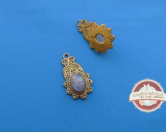 Opal gold Indian ethnic pendant ethnic 15x27MM