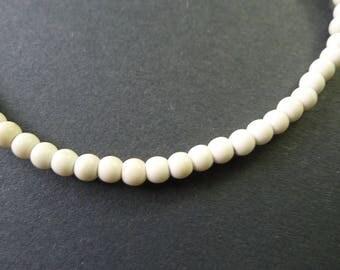 40 beads round gemstones howlite ecru 4mm hole 1 mm
