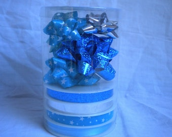 ribbons and bows for blue gift box