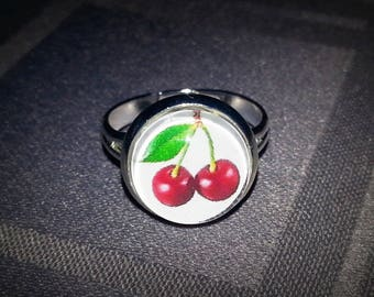 Ring cherry cherries, cabochon glass 12mm, adjustable silver tone metal