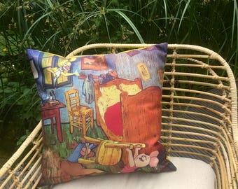 """cushion with handmade collage. Title: """"Interior designers for Vincent!"""""""