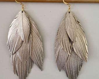 Layered genuine ITALIAN LEATHER gold feather earrings soft leather feather earrings leather earrings lightweight dangle earrings