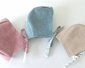 Baby hats/crushes retro vintage velvet mid! leraies pink, grey / blue and beige lined with cotton fancy