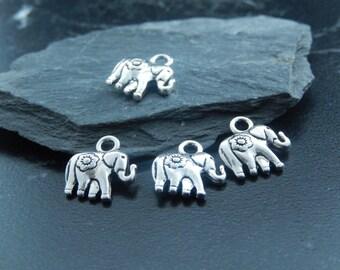 5 Silver elephant charms