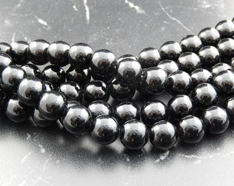 38 10 mm black Agate beads