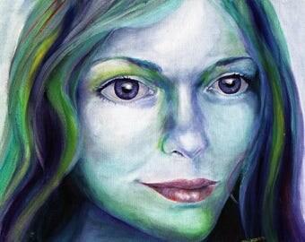 "Mermaid Portrait Original Oil Painting on Canvas Board 11X14"" Magical, Mystical Colorful Elemental"