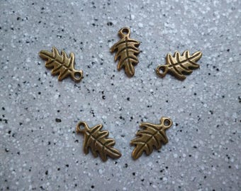 5 metal leaf charms bronze 15 mm