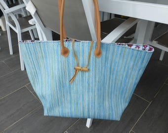 Turquoise blue braided imitation leather tote bag