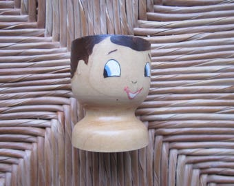 Customizable hand painted wooden egg Cup