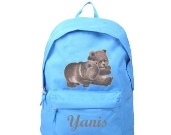 Cubs blue backpack personalized with name