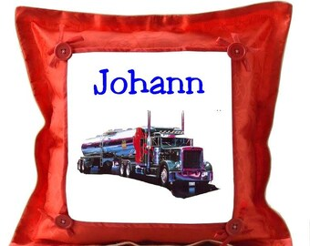 Red cushion truck personalized with name