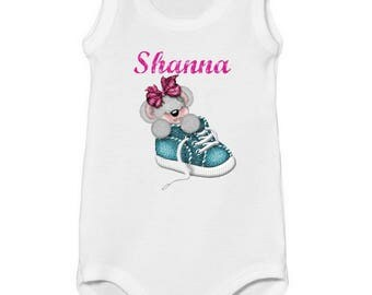 Onesie top Teddy bear in shoe customized with name