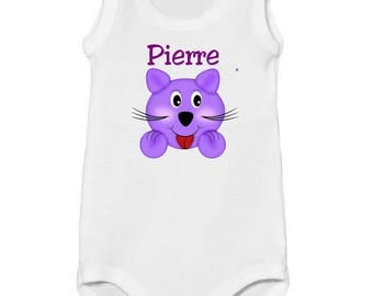 Tank top personalized with name purple kitten Bodysuit