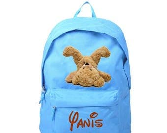 bag has blue Teddy bear personalized with name