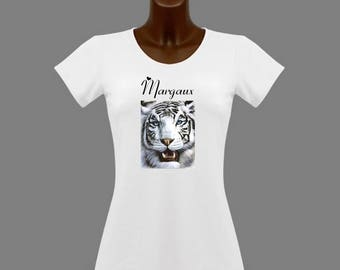 White Tiger woman white t-shirt personalized with name