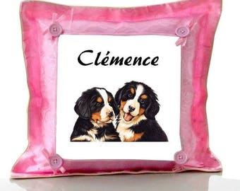 Cushion Pink Bernese mountain dog personalized with name
