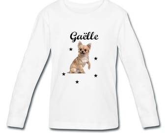 T-shirt sleeves Chihuahua girl personalized with name