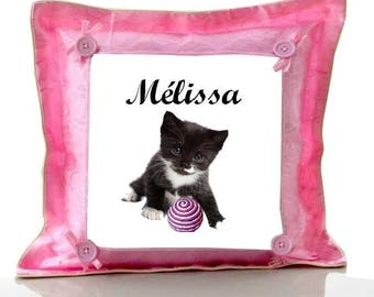 Cushion Pink kitten personalized with name
