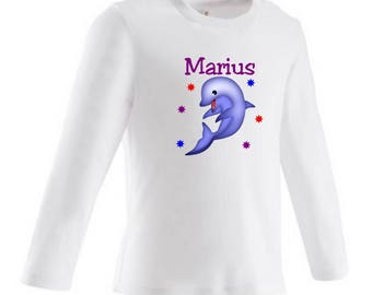 tee shirt baby Dolphin personalized with name