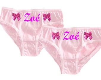 Set of 2 panties girl pink bow personalized with name