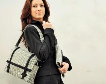 In wool and silk bronze/black handbag satchel shoulder bag hand bag, Messengerbag adjustable strap, gift for woman