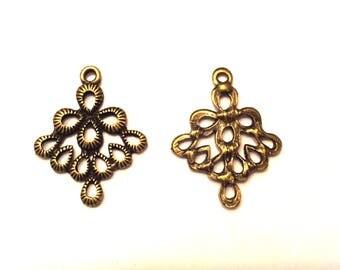 Set of 15 charms connectors pendants bronze diamonds T31