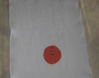 Orange tea towel white honeycomb with catcher dishcloth pattern