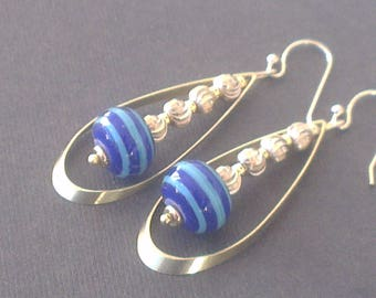 Lampwork Glass Beads, striped in two shades of blue