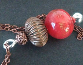 Necklace with Lampwork Glass Bead and copper metal pendant
