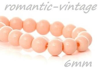 20 6mm salmon pink glass beads