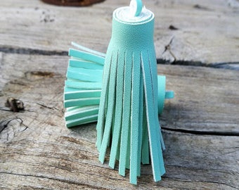 2 color blue/mint clear 60mm imitation leather tassels