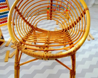 Shell Chair Chair vintage kids shape rattan