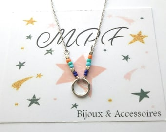 Silver circle with seed Bead Necklace