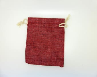Bag, burlap canvas, gift wrapping, Burgundy